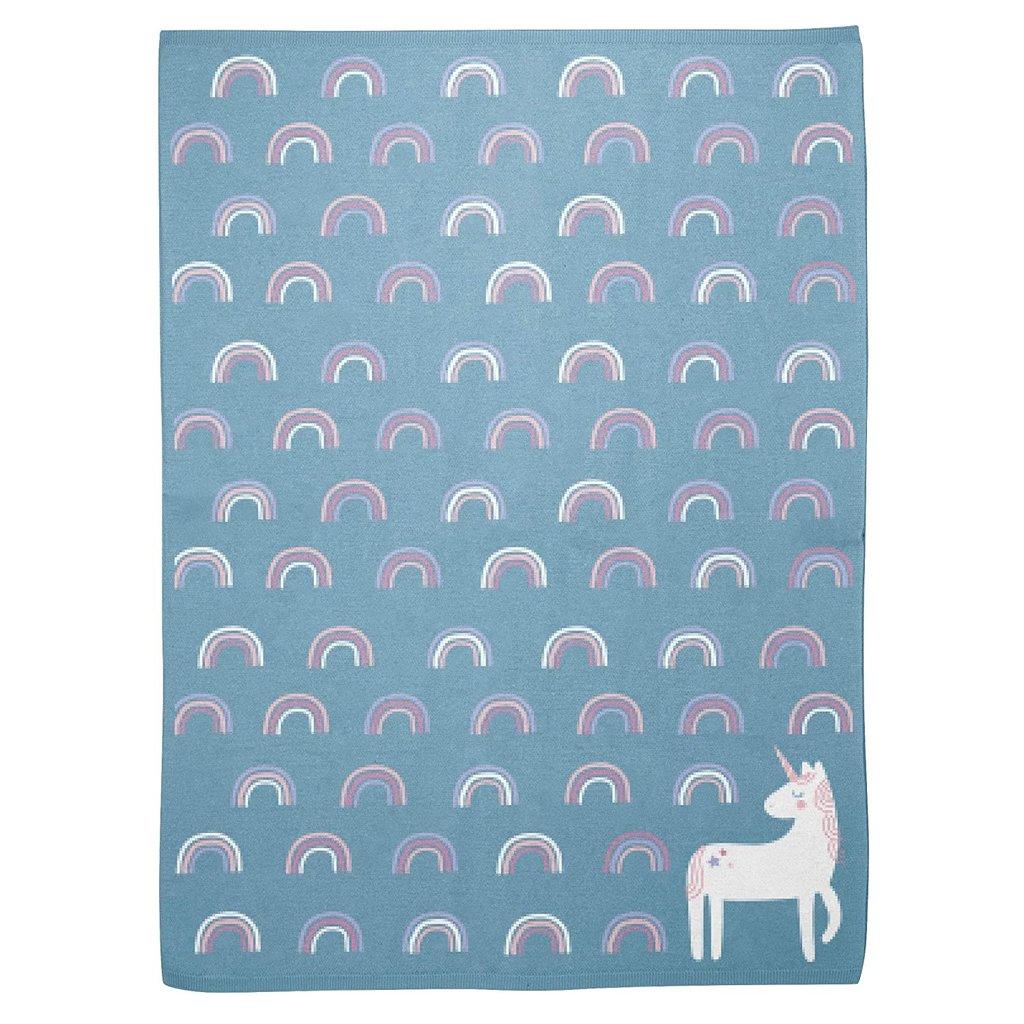 Knit baby Travel Blanket-Unicorn