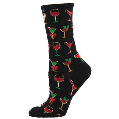 Women Socks CHRISTMAS COCKTAILS - BLACK
