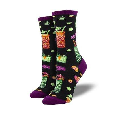 Women Socks Tiki Drinks -Black