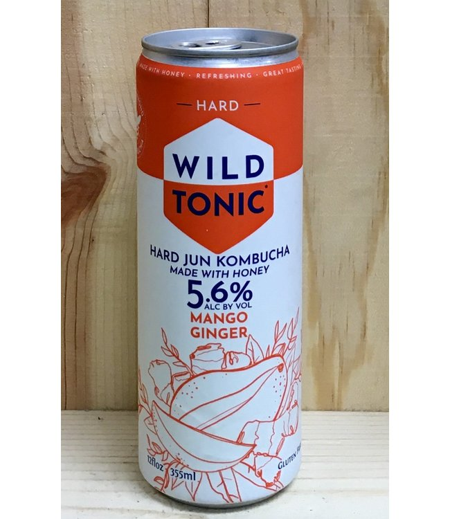 Wild Tonic Mango Ginger Jun Kombucha 12oz can 4pk