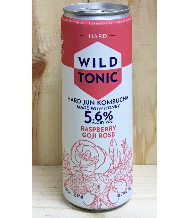 Wild Tonic Raspberry Goji Rose Jun Kombucha 12oz can 4pk