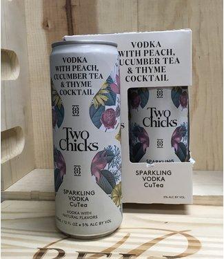 Two Chicks sparkling vodka CuTea cocktail 12oz can 4pk