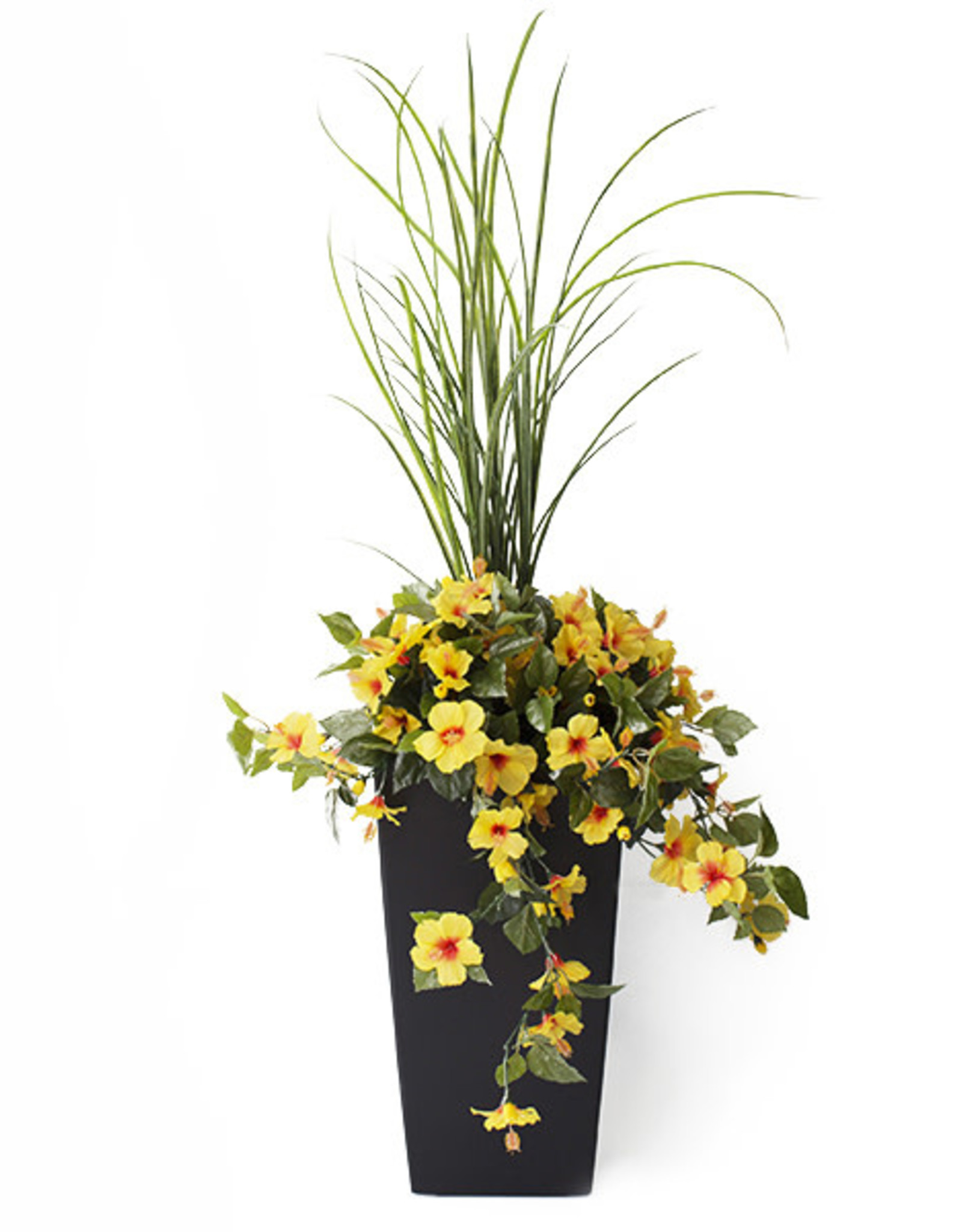 """Veronneau 40"""" Outdoor yellow hibiscus planter"""