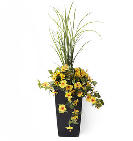 "Veronneau 40"" Outdoor yellow hibiscus planter"