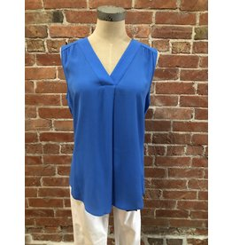 Tribal Blue pleated sleeveless  blouse