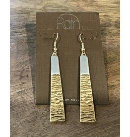 Silver & Gold Tapered Hammer Bar Earring E2496TT