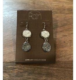 Silver Hematite Two Drop Druzy Earring E2434S