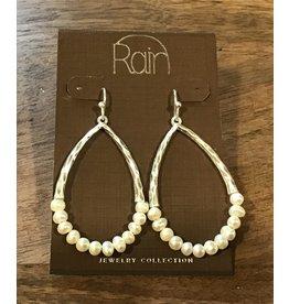 Silver White Pearl Teardrop Earring E2573S