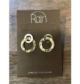 Gold Double Rings Post Earring E 2454G