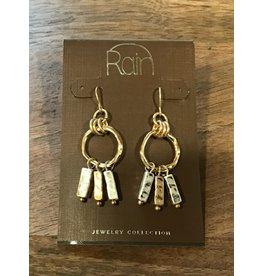 Square Drop Gold & Silver Earring E1677S