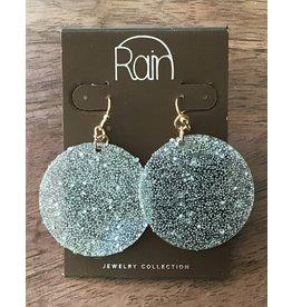silver Acrylic Sparkle Disc Earring E2509GY