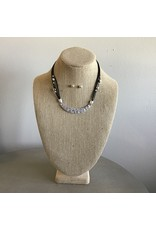 Silver Curved Bar Black Cord Necklace N1725S