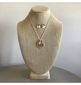 Tri Circle Pendant Necklace & Earring Set N1318M