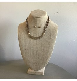 Gold Curved Bar Cord Necklace & Earring Set N1725G