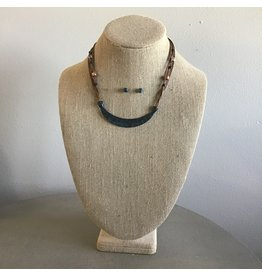 Curved Bar Brown Cord Necklace & Earring Set N1725P