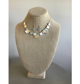 Colorwash Squares Necklace & Earring Set N1690BL