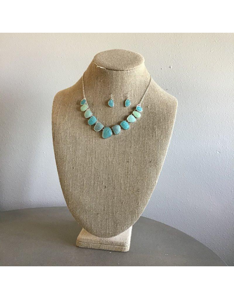 Blue Sea Opal Gem Necklace & Earring Set N1736MT