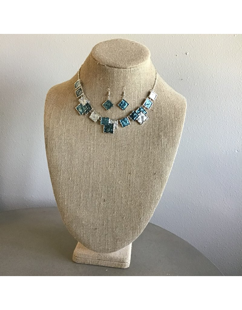 Color Wash Squares Necklace & Earring Set N1690TT