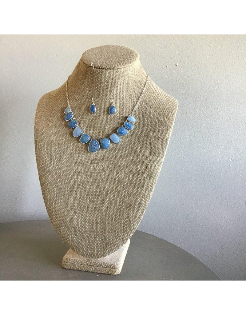 Mint Sea Opal Gems Necklace & Earring Set N1736BL