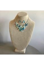 Blue Flower Bib Necklace & Earring Set N1657S