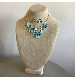 Blue Flower Bib Necklace & Earring Set N1657S