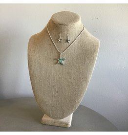 Mint Sea Opal Starfish Necklace & Earring Set N1738MT