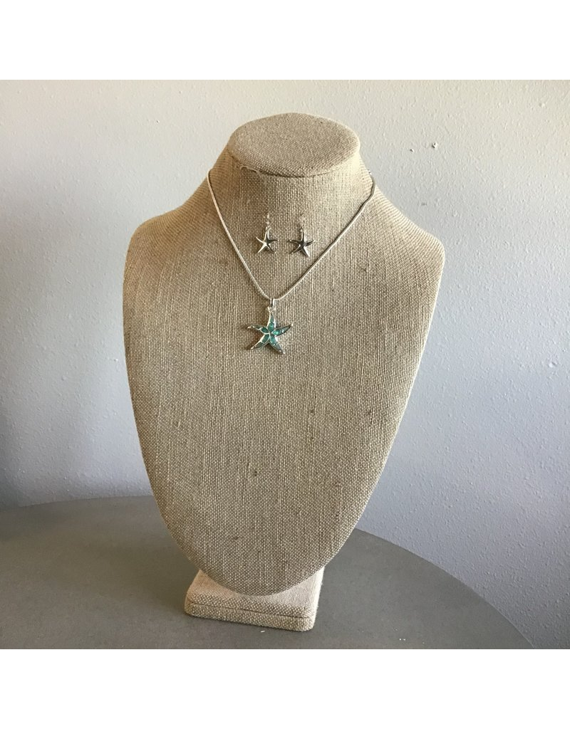 Mint Sea Opal Starfish Necklace & Earring Set N1738MT