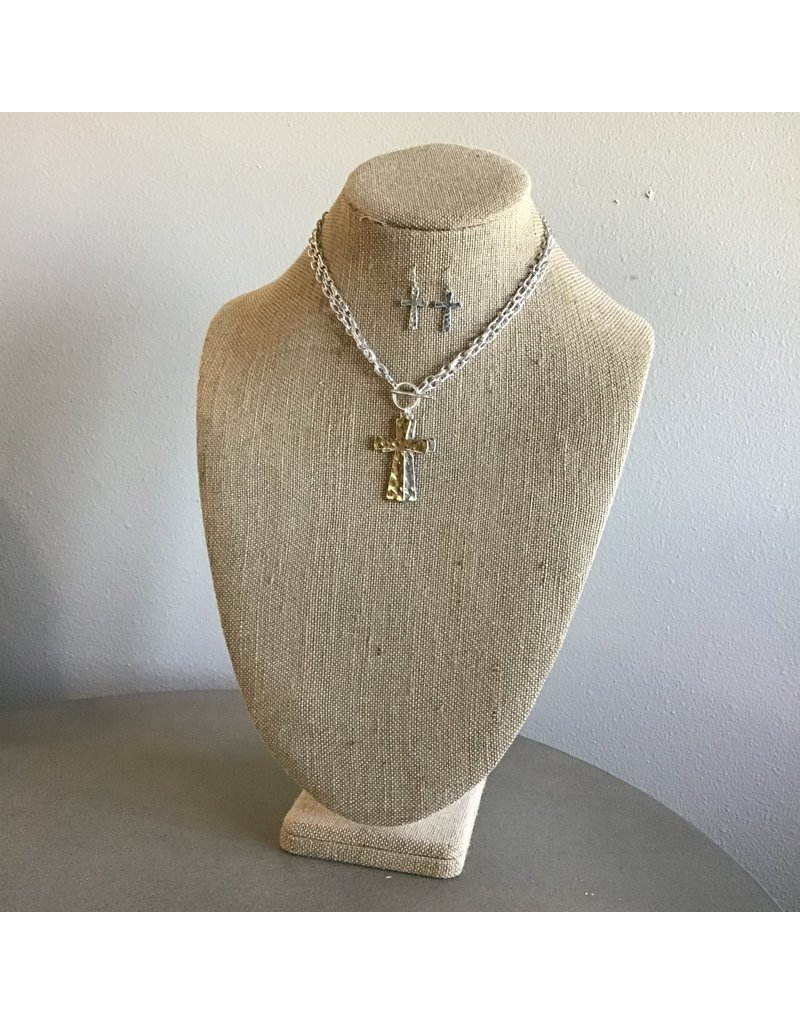 Double Cross Toggle Necklace & Earring Set N1683TT