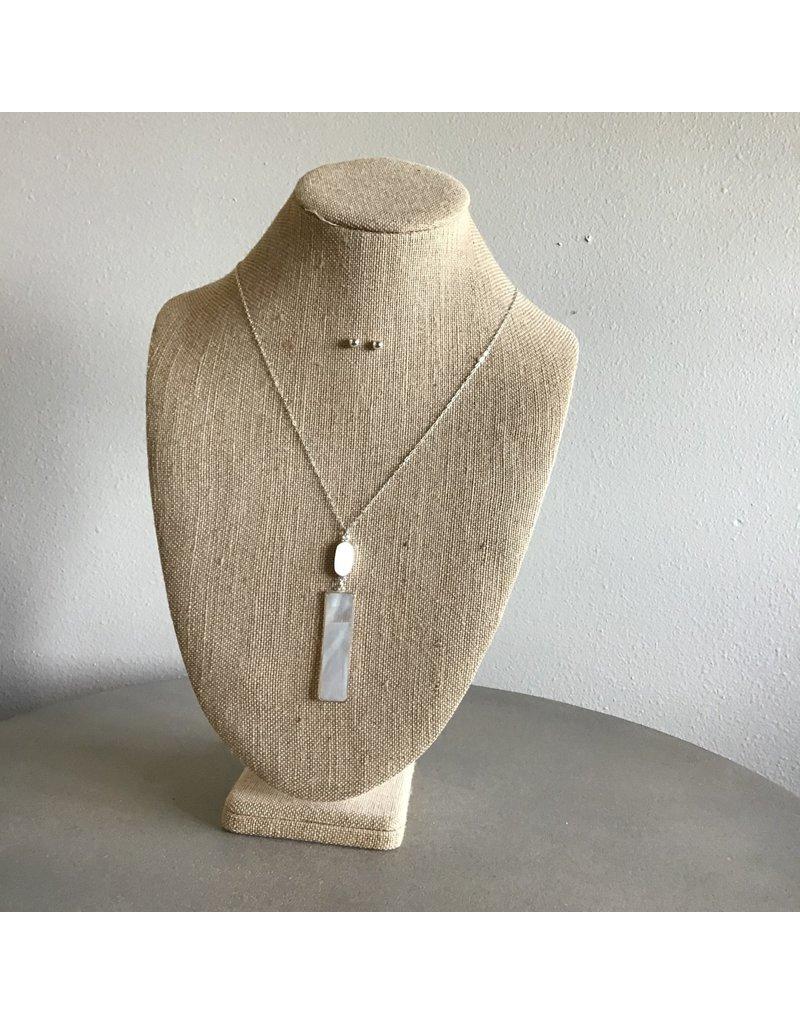 Shell Bar Drop Necklace & Earring Set N1678S
