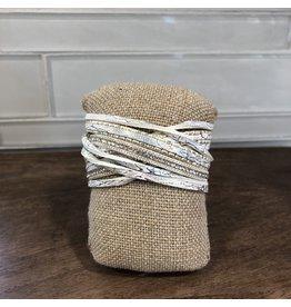 Silver White Glitter Magnetic Bracelet MB126