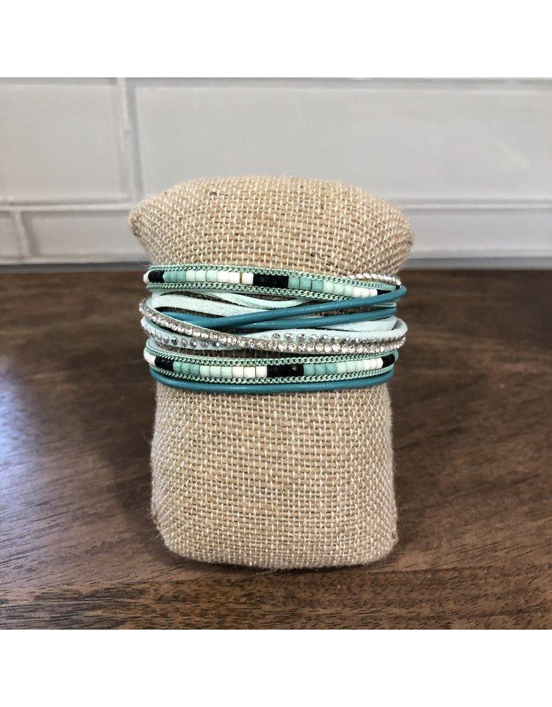 Aqua Beaded Wrap Magnetic Bracelet MB98