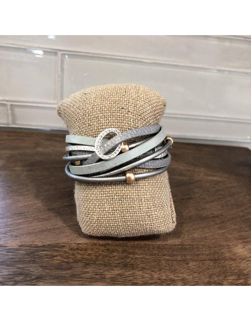 Grey Ring Wrap Magnetic Bracelet MB144