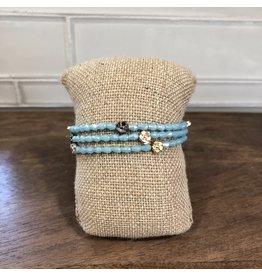 Blue Bead Flowers Magnetic Bracelet B1447BL