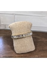 Gold MiniClear Baguette Crystal Stretch Bracelet B1651CL