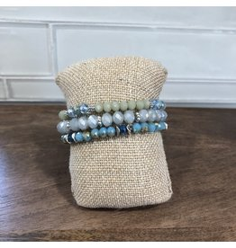 Blue Green Tassel Stretch Bracelet Trio B1505M