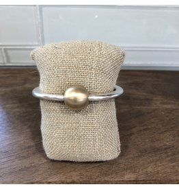 Two Tone Top Ball Hinge Bangle Bracelet B1632TT
