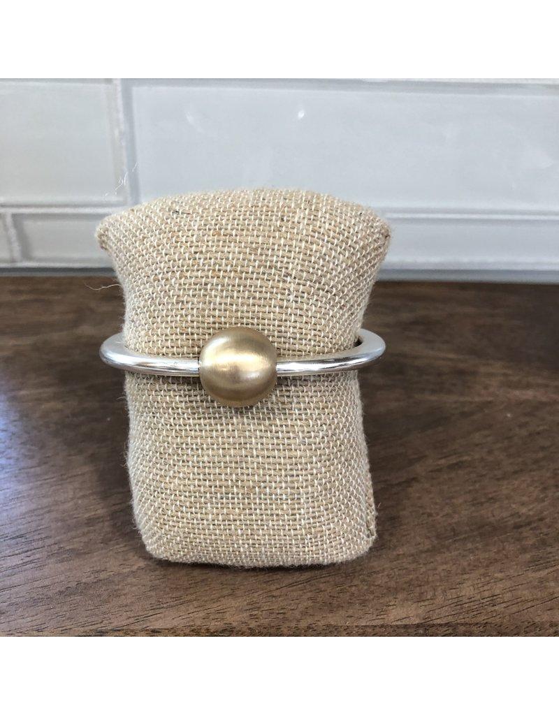 Two Tone Top Ball Hinge Bangle Bracelet B1632TT