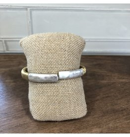 Two Tone Wire Wrap Bangle Bracelet B1453TT