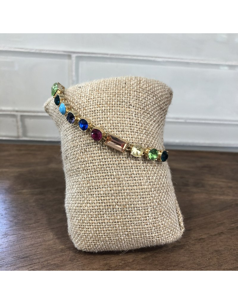 Gold Rainbow Gems Slider Bracelet B1592M