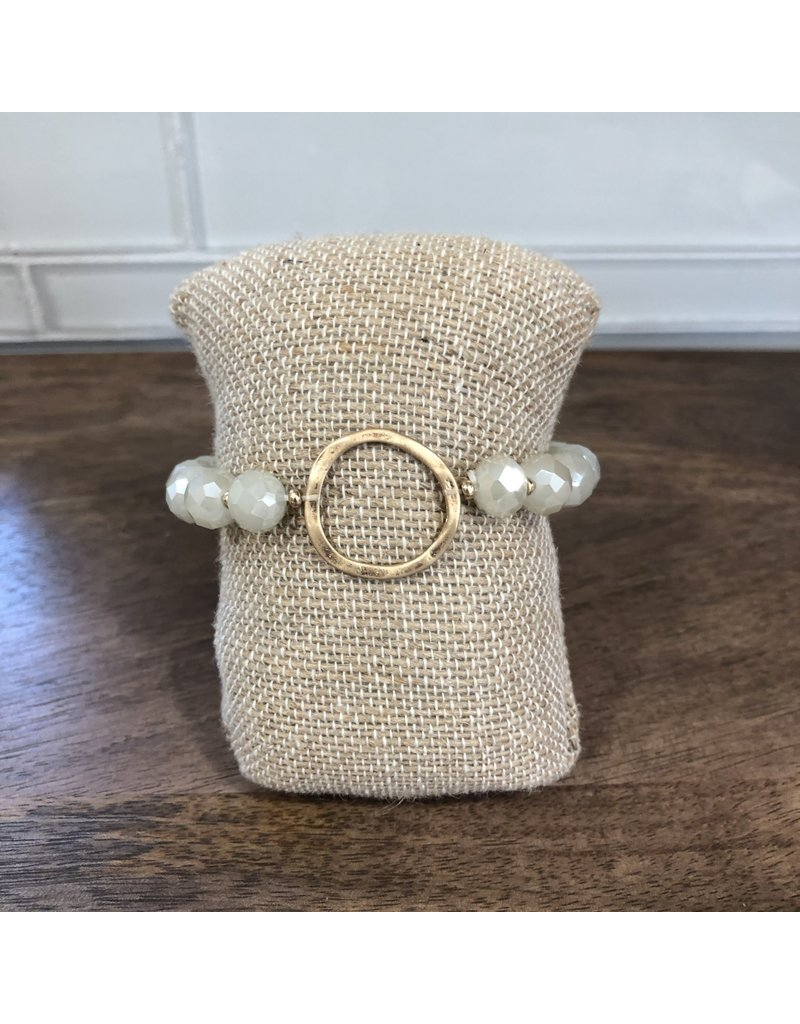 Gold Circle White Bead Bracelet B1472WH