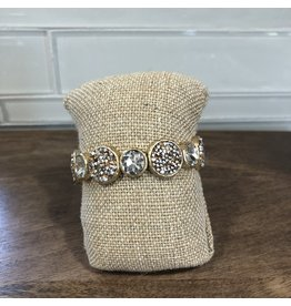 Gold Crystal Pave Circle Stretch Bracelet B1588G