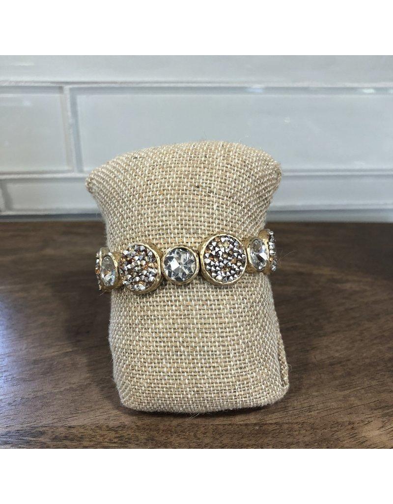 Gold Crystal Pave Circle Stretch Bracelet B1588G
