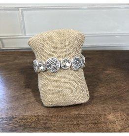 SilverCrystal Pave Circles Stretch Bracelet B1588S