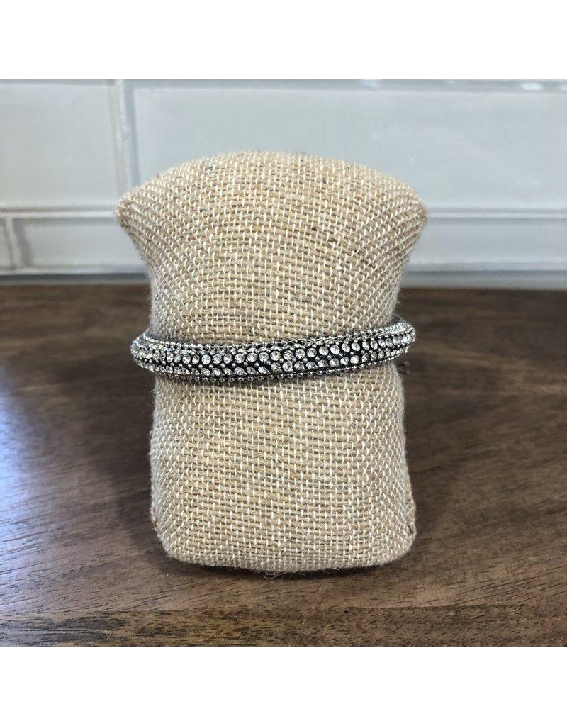 Silver Clear Crystal Magnetic Bracelet MB151