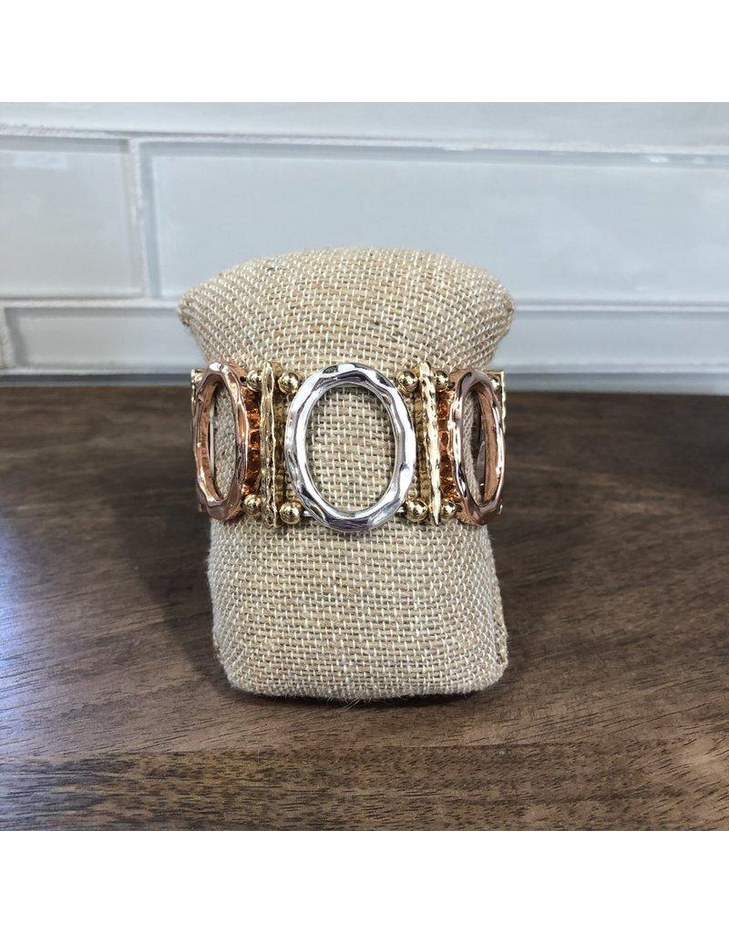 Multimetal Oval Strip Stretch Bracelet B1375M