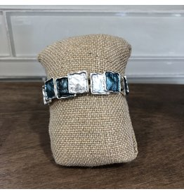 Silver Color Wash Square Stretch Bracelet B1809BL