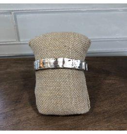 Silver Gold Enamel Squares Stretch Bracelet B1809TT