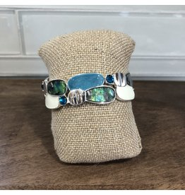 GB167GR Green Abalone Abstract Stretch Bracelet GB167GR
