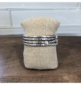Silver Patterned Double Stretch Bracelet B1582S