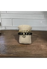 Gold Black Bead Stretch Bracelet Set B1606BK
